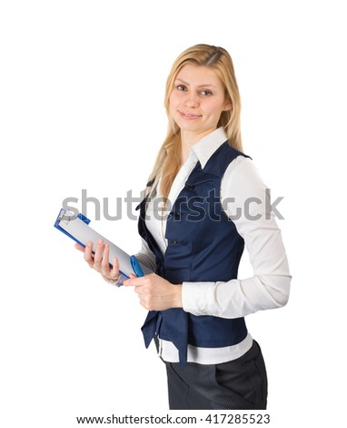 Business woman in a suit with a tablet in hand on white background