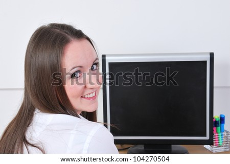 Business woman in close up looking at camera