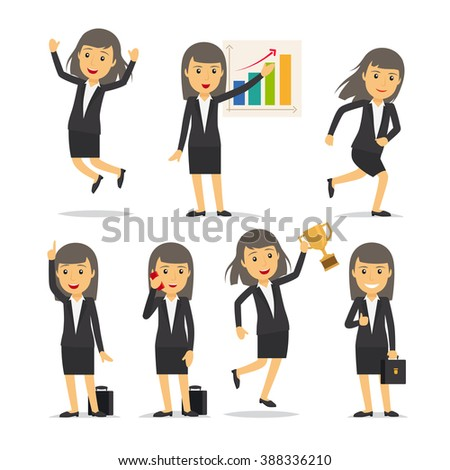 Business woman in different poses - stock photo