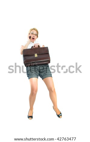 business woman in glasses and phone