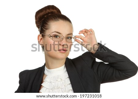 business woman in glasses, isolated on white