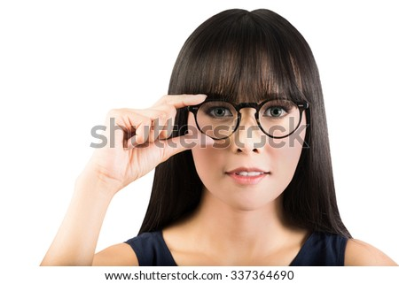 business woman in glasses isolated on white with clipping path. - stock photo