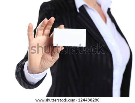 business woman in her 40s holding business card - stock photo
