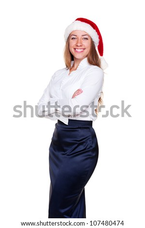 business woman in santa hat is posing over white background