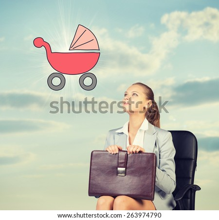 Business woman in skirt, blouse and jacket, sitting on chair imagines buggy. Against background of sky and clouds - stock photo