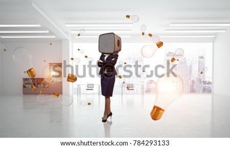 Business woman in suit with an old TV instead of head keeping arms crossed while standing among flying lightbulbs inside office building. 3D rendering.