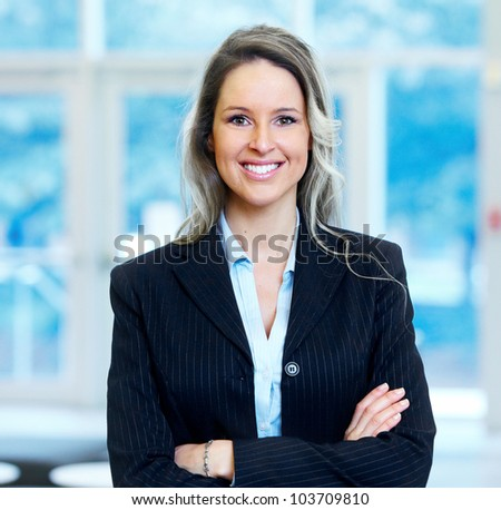 Business woman. in the modern urban hall. - stock photo