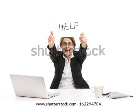 Business woman in the office holding a paper witl the word Help, isolated over a white background - stock photo