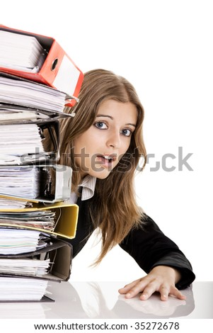 Business Woman in the office overworked isolated on white - stock photo