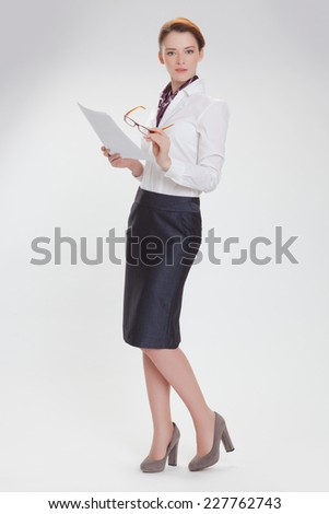 Business woman in the white blouse  isolated white background