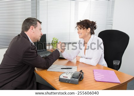 Business woman interviewing a  job applicant - stock photo