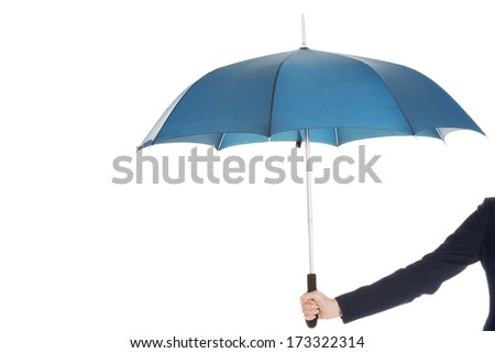 Business woman is holding blue umbrella. Isolated on white. - stock photo