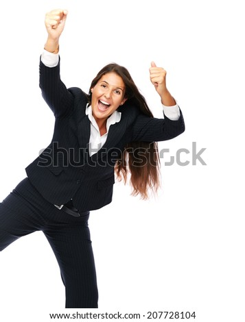 Business woman is jumping excited.   Isolated on a white background. - stock photo