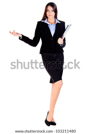 business woman is showing something with the hand on white background - stock photo