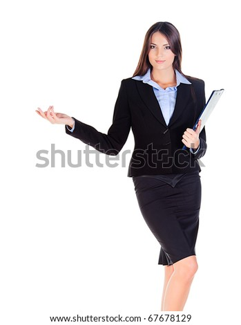 business woman is showing something with the hand on white background