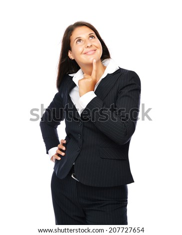 Business woman is thinking looking up.   Isolated on a white background. - stock photo