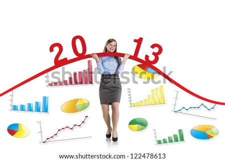 Business woman is trying to increase market statistics.