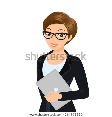 Business woman is wearing black suit isolated on white. - stock photo