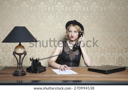 business woman is working hard in the office - stock photo