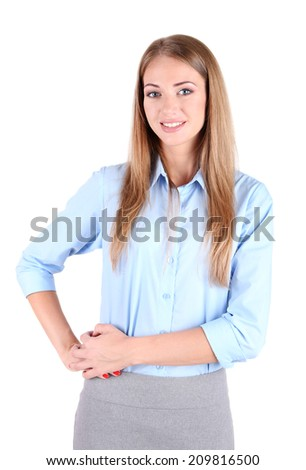 Business woman, isolated on white - stock photo