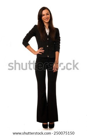 business woman isolated over white background - stock photo