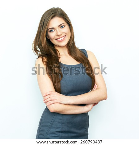 Business Woman isolated portrait with crossed arms. Toothy smiling model.