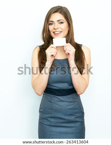 business woman isolated portrait with white blank card. smiling model portrait. - stock photo
