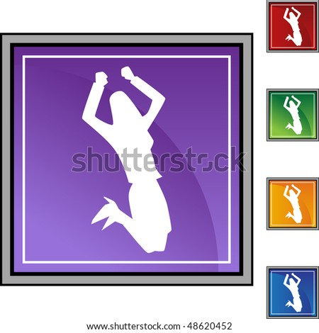 Business woman jumping web button isolated on a background.
