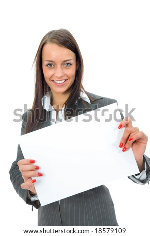 Business woman keeps sheet  on white background