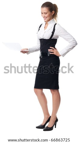 Business woman laughing holding a document standing isolated on white