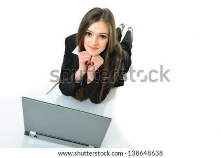 Business Woman Laying Down Smiling - stock photo