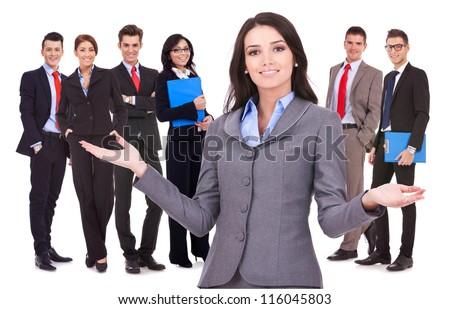 business woman leader welcoming to her successful team
