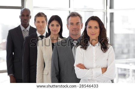 Business woman leading a young  business team