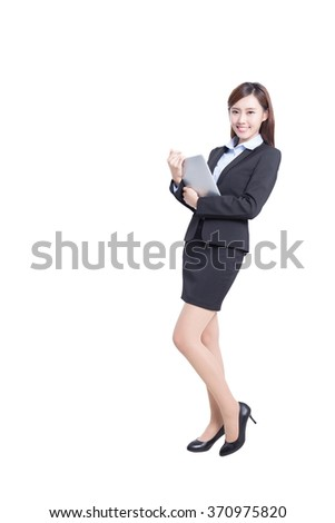 business woman lean something and use digital tablet pc isolated on white background, asian - stock photo