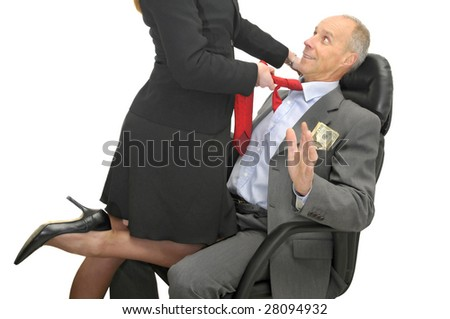 Business woman legs and businessman isolated in white