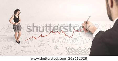 Business woman looking at red arrow drawn by a hand concept on background - stock photo
