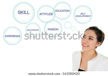 Business woman looking at self development plan - stock photo