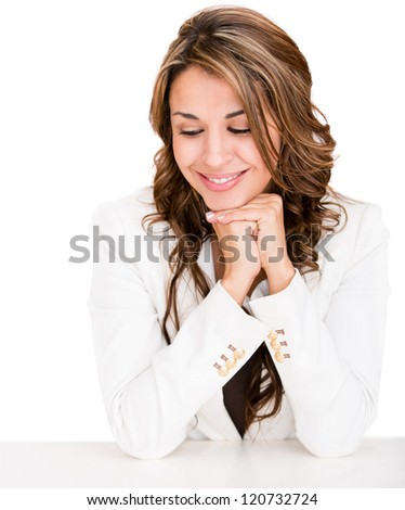 Business woman looking at the desk - isolated over a white background - stock photo