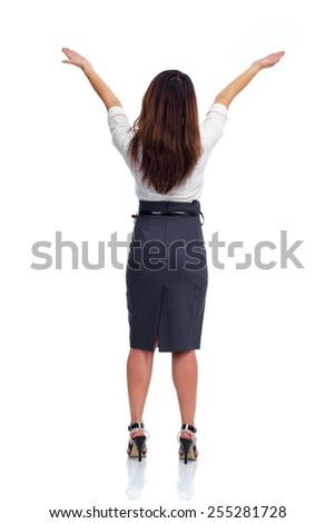 Business woman looking copyspace isolated white background - stock photo