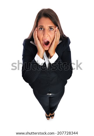 Business woman looking stressed out, is shocked.   Isolated on a white background. - stock photo