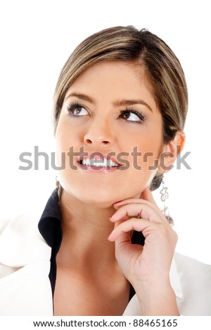 Business woman looking up - isolated over a white background