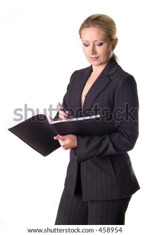 Business woman making notices