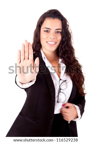 Business woman making stop sign - stock photo