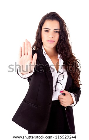 Business woman making stop sign
