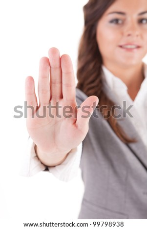 Business woman making stop sign, isolated - stock photo