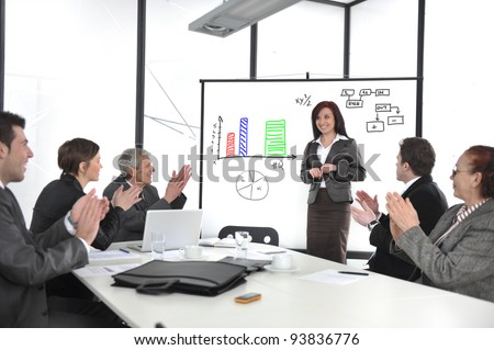 Business woman making the presentation and receiving applause