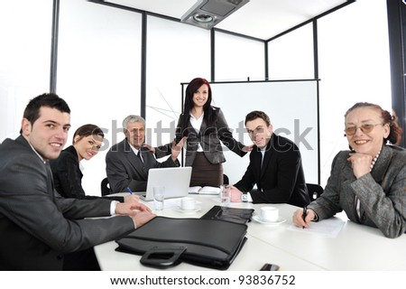 Business woman making the presentation at office