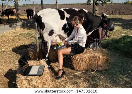 Business woman milking cow on farm - stock photo