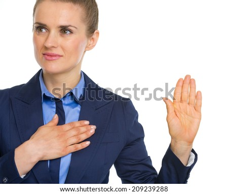 Business woman oath truth - stock photo