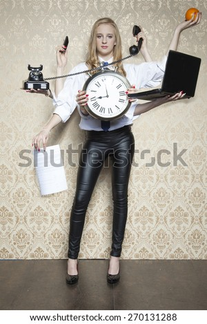business woman of special tasks - stock photo
